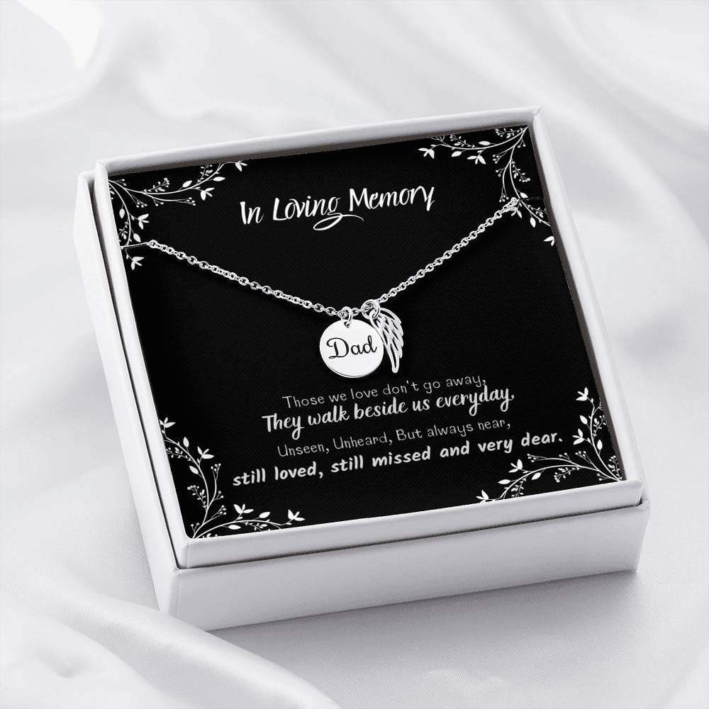 ShineOn Fulfillment Jewelry Premium Stainless Steel Dad Remembrance Necklace w/ In Loving Memory Card