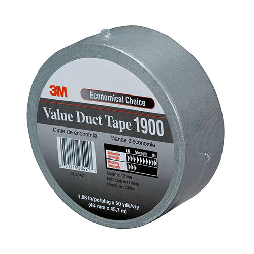 "3M Value Duct Tape 1900 1.88"" x 50 yd 5.8 Ml. Silver (Case/24) - 1900"