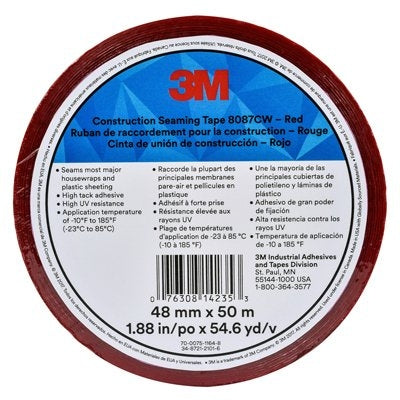 3M 8087CW Construction Seaming Tape Red, 48mm x 50m - Case of 24