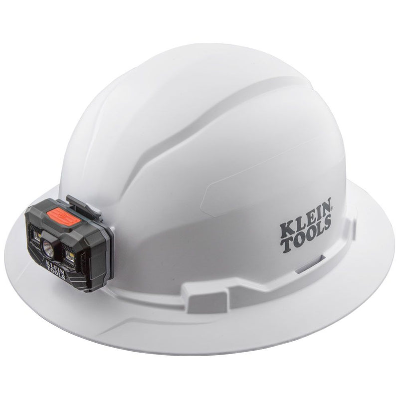 Klein Tools 60406RL Hard Hat, Non-Vented, Full Brim with Rechargeable Headlamp, White