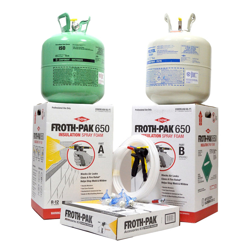 Dow Froth Pak 650 (1.75 PCF) Class A Spray Foam Kit with 15' Gun Hose Assembly