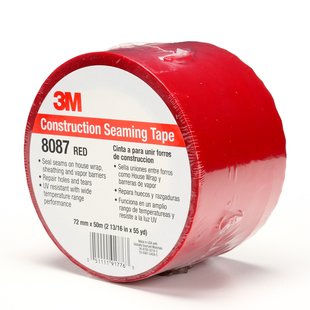 3M 8087CW Construction Seaming Tape Red, 72mm x 50m