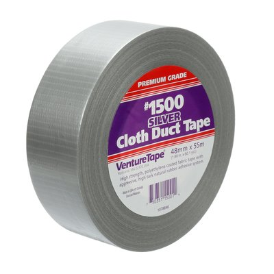 "3M Venture Tape 1.88"" x 180' Cloth Duct Tape, Silver, Case/16 - 1500"