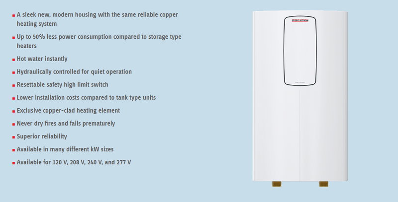Stiebel Eltron DHC 3-1 Classic Single/Multi-Point-of-Use Tankless Electric Water Heater 120V 3kW
