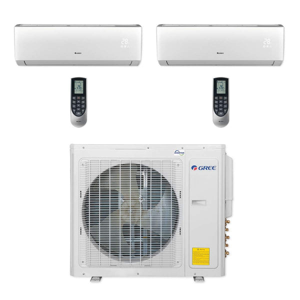 Gree Multi21+ 30k BTU Dual-Zone Ductless Mini Split Heat Pump System - 208/230V (12k-18k)