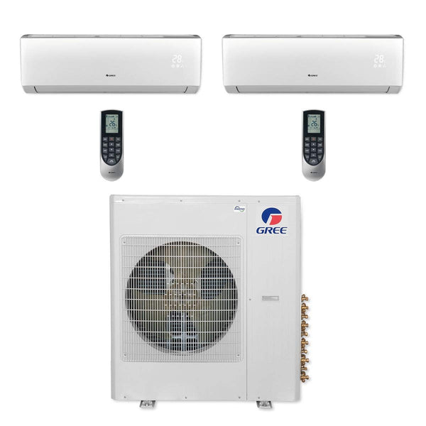 Gree Multi21+ 36k BTU Dual-Zone Ductless Mini Split Heat Pump System - 208/230V (18k-18k)