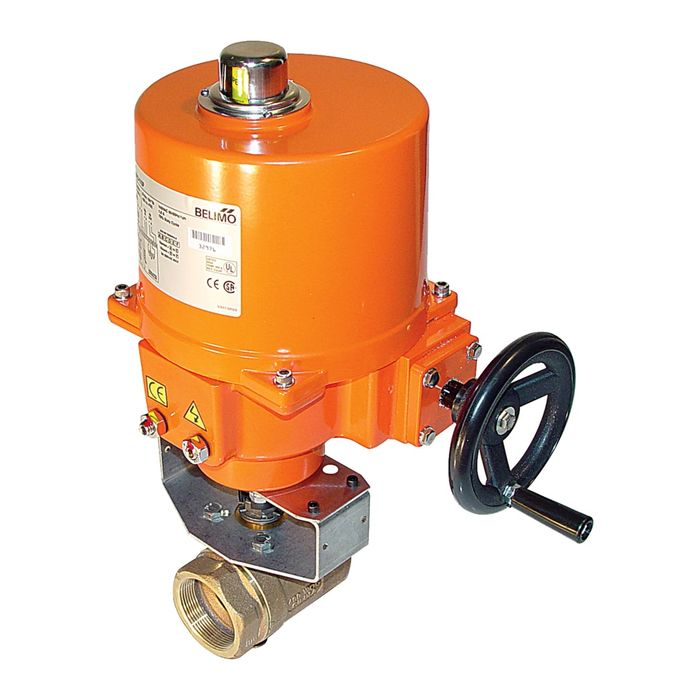 "Belimo B239VS+SY1-24 Ball Valve, 1.5"" , 2-Way,84 Cv , w/ Actuator, On/Off Floating Point, No-Spring Return, 24V"