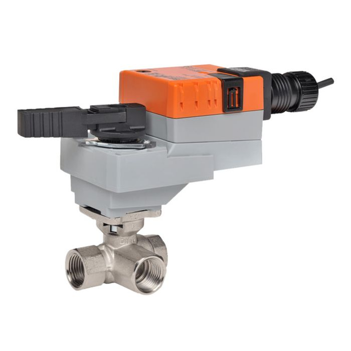 "Belimo B322+LRB24-3 Characterized Control Valve (CCV), 1"", 3-Way, Cv 7.4, w/ Valve Actuator, Non Fail-Safe, AC/DC 24 V, On/Off, Floating Point"