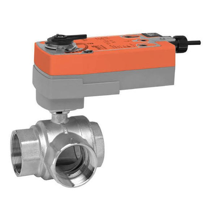"Belimo B341+AFRBUP Characterized Control Valve (CCV), 1 1/2"", 3-Way, Cv 46, w/ Valve Actuator, Spring Return, AC 24-240 V / DC 24-125 V, On/Off"