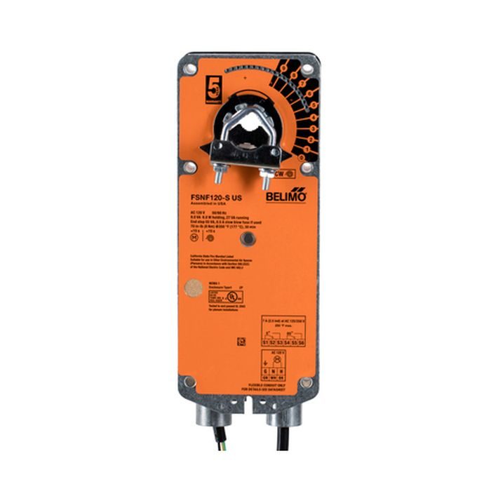 Belimo FSNF120-S Fire & Smoke Actuator, 70 in-lb [8 Nm] from 32-350°F, Spring Return, AC 120 V, On/Off, 2 x SPDT