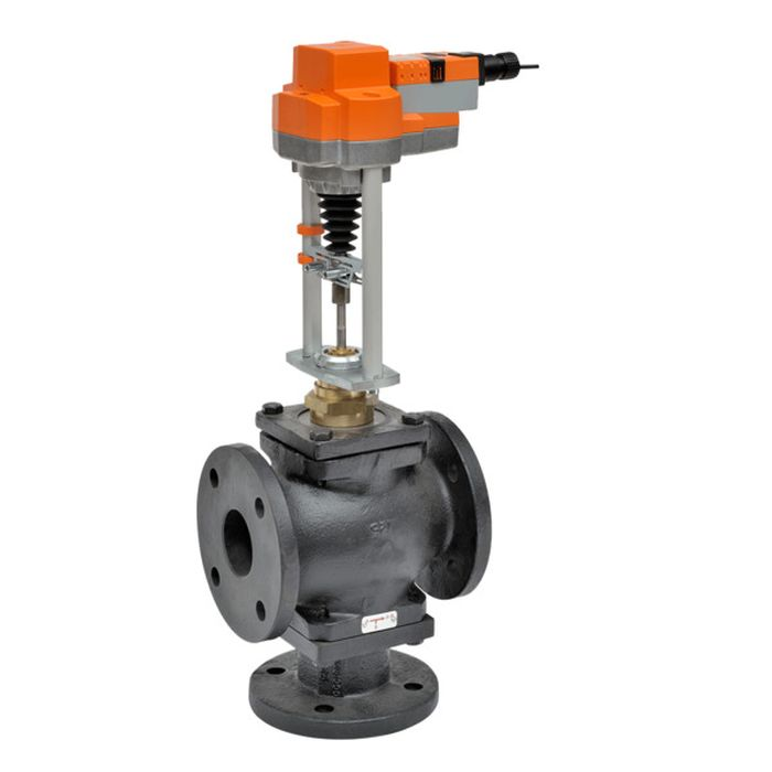 "Belimo G7150D+EVB24-3 Globe Valve (GV), 6"", 3-Way, ANSI Class 125, Cv 248, w/ Valve Actuator, Non Fail-Safe, AC/DC 24 V, On/Off, Floating Point"