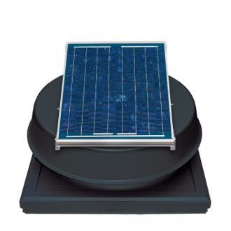 Natural Light Solar Attic Fan 12 Watt Curb Mount Black, Up to 893 CFM - SAF12CMBL