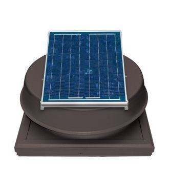 Natural Light Solar Attic Fan 12 Watt Curb Mount Bronze, Up to 893 CFM - SAF12CMBR