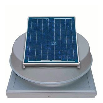 Natural Light Solar Attic Fan 12 Watt Curb Mount Grey, Up to 893 CFM - SAF12CMGR