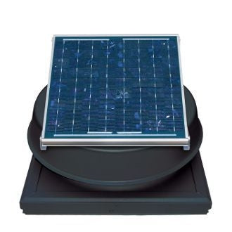 Natural Light Solar Attic Fan 24 Watt Curb Mount Black, Up to 1339 CFM - SAF24CMBL