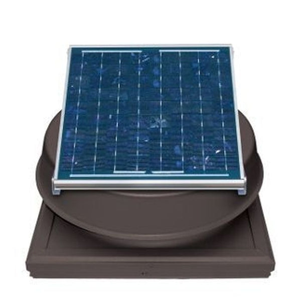 Natural Light Solar Attic Fan 24 Watt Curb Mount Bronze, Up to 1339 CFM - SAF24CMBR