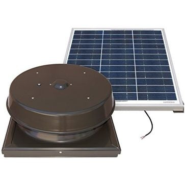 Natural Light Solar Attic Fan 60 Watt Curb Mount Bronze, Up to 1995 CFM - SAF60CMBR