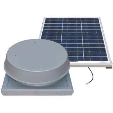 Natural Light Solar Attic Fan 60 Watt Curb Mount Grey, Up to 1995 CFM - SAF60CMGR