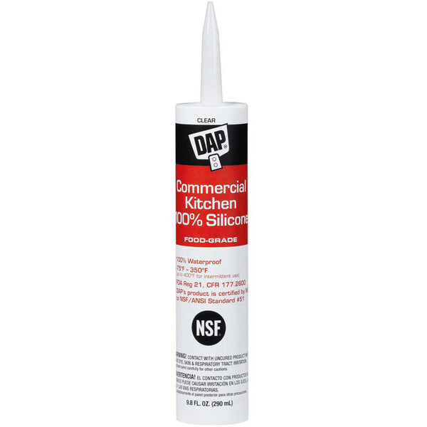 DAP Commercial Kitchen 100% Silicone Sealant, 9.8 oz, Clear, Case of 12