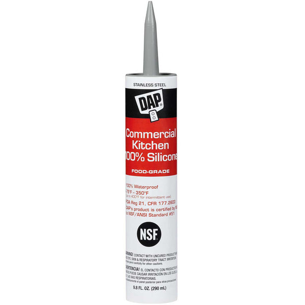 DAP Commercial Kitchen 100% Silicone Sealant, 9.8 oz, Stainless Steel, Case of 12