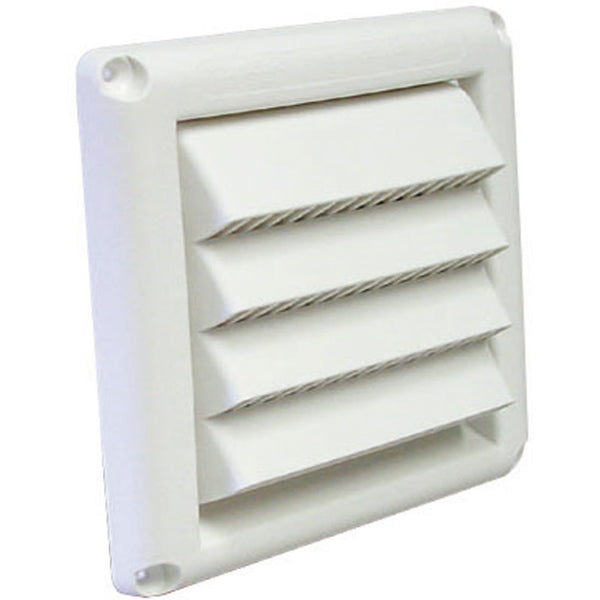 "Deflect-O 4"" Intake Vent Hood w/Fixed Louvers White 24/Case - HSM4W/24"