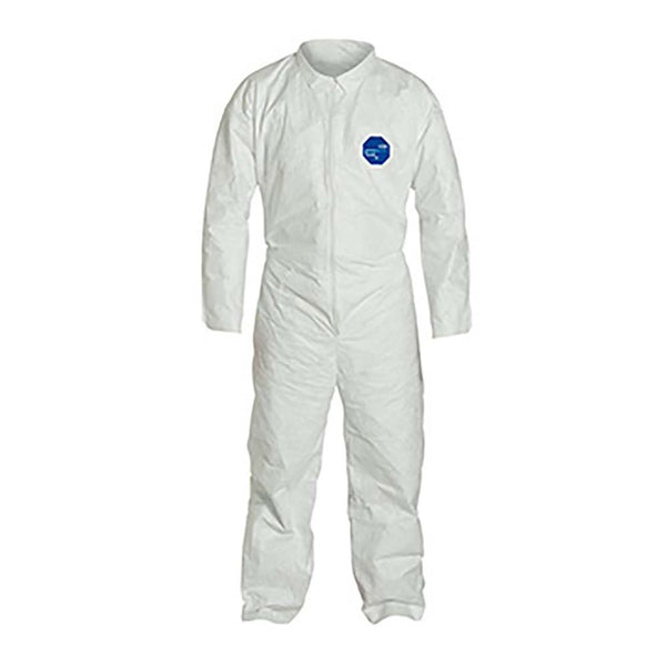 DuPont™ Tyvek® 400 Coveralls, Collar, Stormflap, Open Wrists and Ankles, Elastic Waist, Serged Seams, White, 2XL, Case of 25 TY120SWH2X002500