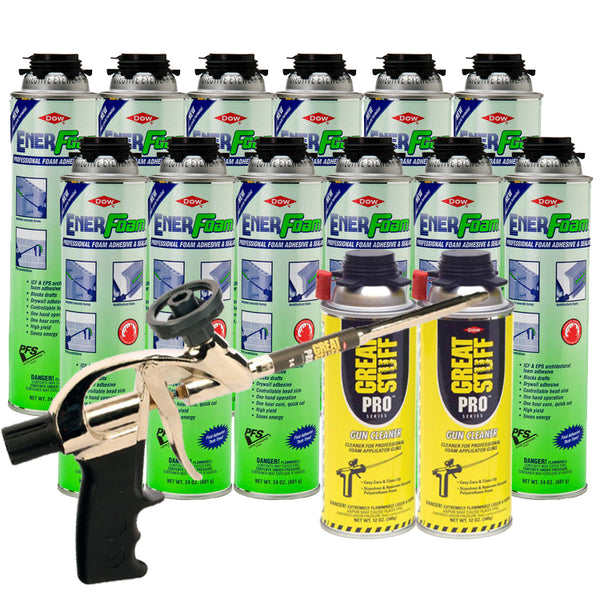 Dow Enerfoam 24 oz 12 Cans with Pro 14 Dispensing Gun & 2 Gun Cleaners