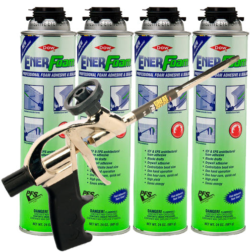 Dow Enerfoam 24oz 4 Cans with Pro 14 Dispensing Gun