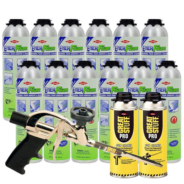 Dow Enerfoam 30 oz 12 Cans with Pro 14 Dispensing Gun & 2 Gun Cleaners