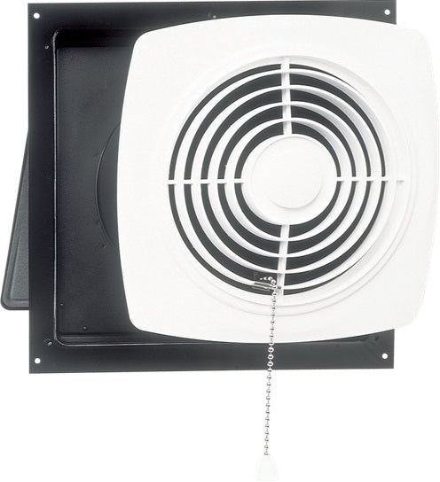 "Broan NuTone 506 10"" 430 CFM Chain-Operated Wall Fan, White Square Plastic Grille"