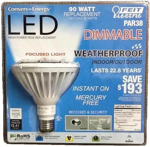 Feit Dimmable LED Bulb 20W, Weatherproof, In/Outdoor - PAR38/LEDG5