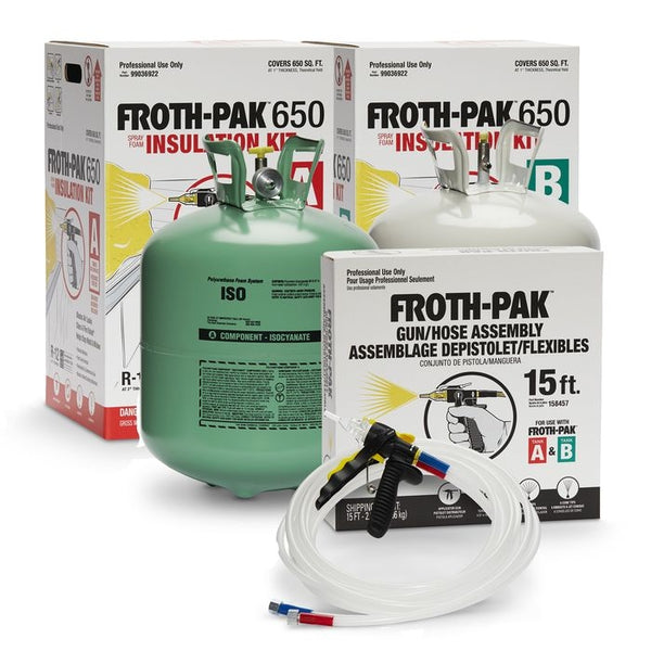 Dow Froth Pak 650 Class A Spray Foam Insulation Kits Bundle (2 sets & 2 hoses) with Safety Kit & Cleaner