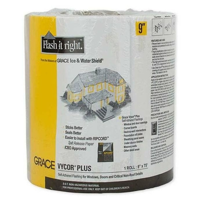 "Grace Vycor Plus 9"" x 75' Self-Adhered Flashing Tape - Pallet of 180 Rolls"
