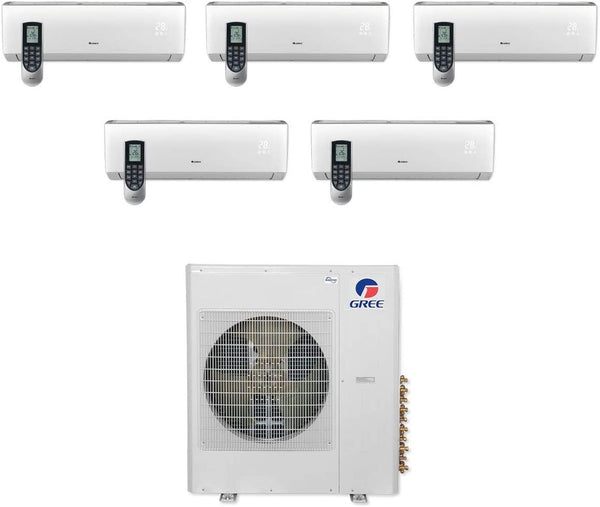 Gree Multi21+ 36k BTU Penta-Zone Ductless Mini Split Heat Pump System - 208/230V (9k-9k-9k-9k-9k)