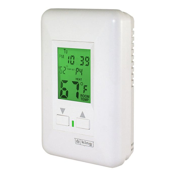 King HWP120 Hydronic 7-Day Independent Electronic Programable Thermostat, 120V 2 Circut 12.5Amp