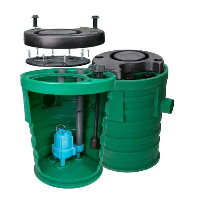 "Little Giant Pit+Plus SR 9SF2V2DA1 Preminum Simplex Sewage System, 2"" Vent, 2"" Discharge, Float Switch, Indoor Alarm"