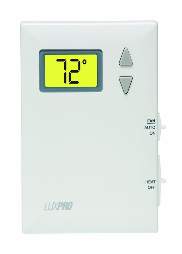 LuxPro Digital Heat Only Thermostat w/ Fan Control - PSD010BF (case/10)