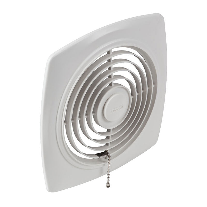 "Broan NuTone 507 8"" 250 CFM Chain-Operated Wall Fan, White Square Plastic Grille"