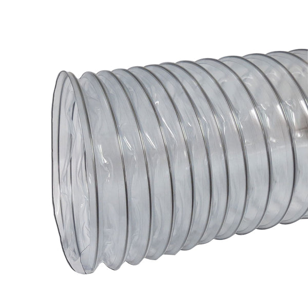 "Nikro 860245 8"" x 25' Heavy Duty Clear PVC Flex Duct"