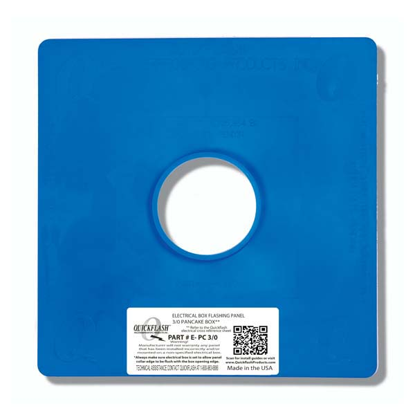 Quickflash Electrical Pancake 3/0 Box Flashing Panel - E-PC3-0