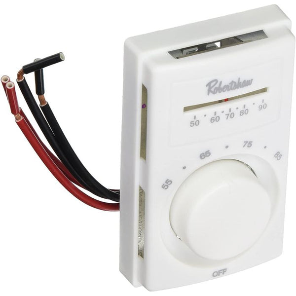 Robertshaw 802 Mercury-Free Line Voltage Thermostat, DPST, 120/240/277V