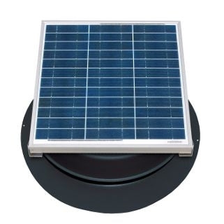 Natural Light Solar Attic Fan 36 Watt 1628 CFM Roof Mount Black - SAF36BL