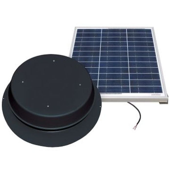 Natural Light Solar Attic Fan 60 Watt 1995 CFM Roof Mount Black - SAF60BL