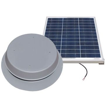Natural Light Solar Attic Fan 60 Watt 1995 CFM Roof Mount Grey - SAF60GR