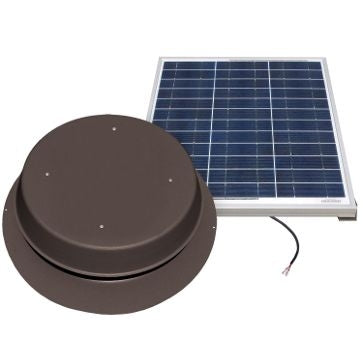 Natural Light Solar Attic Fan 60 Watt 1995 CFM Roof Mount Bronze - SAF60BR