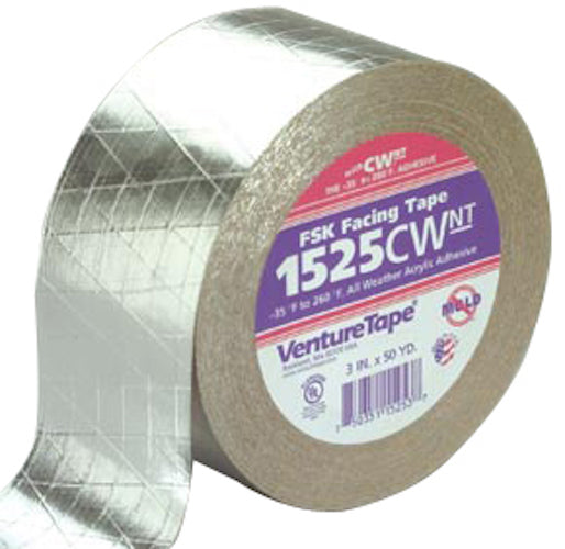 "3M 1525CW Venture Tape 3"" x 150' FSK Facing Tape - Case of 16"