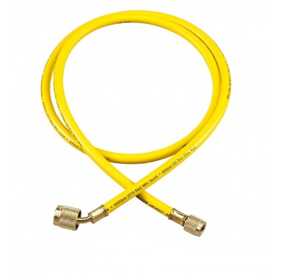 "Yellow Jacket 22072 1/4"" Plus II Charging Hose,72"",SealR. Fit.,Yellow"