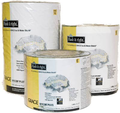 "Grace Vycor Plus 12"" x 75' Self-Adhered Flashing Tape - Case of 6 Rolls"