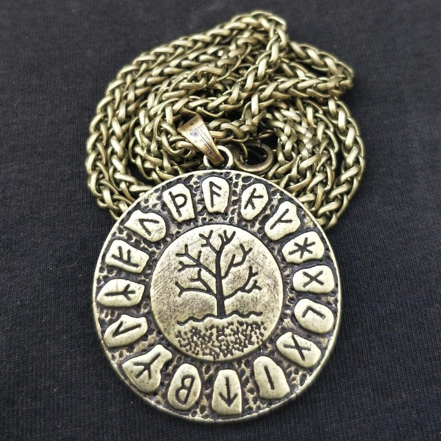 Collier Pendentif Yggdrasil or