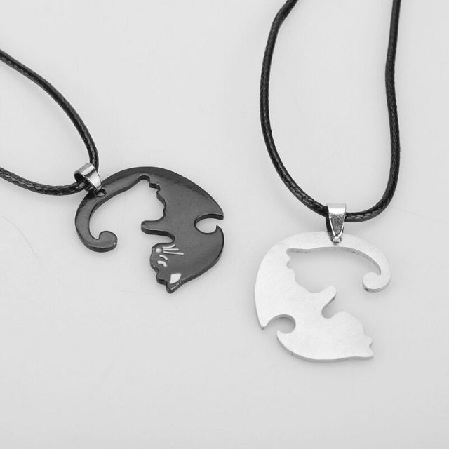 Collier Yin Yang Couple Deux Parties Séparable Détachable